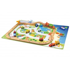 Wooden Train Set Play Mat with Village and 14 Wooden Vehicles